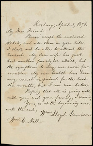 Letter from William Lloyd Garrison, Roxbury, [Mass.], to William Cooper Nell, April 3, 1871