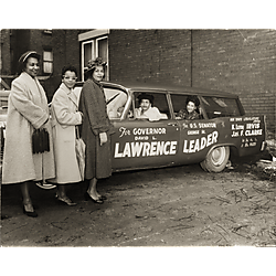 Campaign car - David L. Lawrence for Governor - with women including Mrs. K. Leroy Irvis in the back seat of the car
