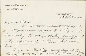 Baldwin, James Mark, 1861-1934 autograph letter signed to Hugo Münsterberg, Baltimore, 20 April 1905