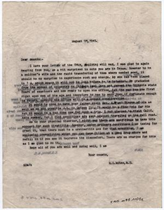 Letter from Dr. Edwin D. Moten to his cousin Amanda, August 26, 1943