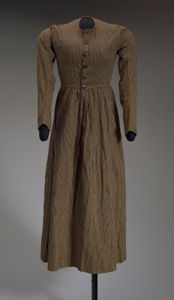 Brown and cream striped day dress from the Civil War era