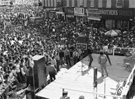 The Mean Machine performing at street festival, Third Ave. Hub, Bronx, 1981