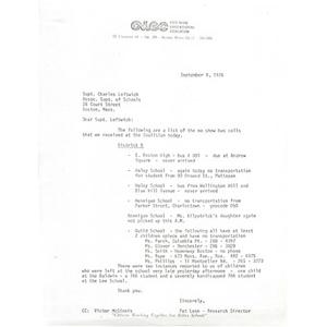 Letter, Superintendent Charles Leftwich, September 9, 1976.