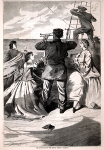 """The Approach of the British Pirate """"Alabama"""", from Harper's Weekly, April 25, 1863"""