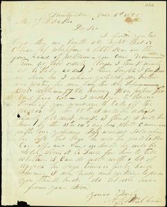 A. J. McElveen, Sumterville, S.C., autograph letter signed to Ziba B. Oakes, 6 January 1855