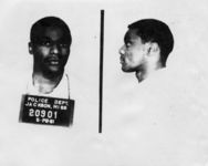 Mississippi State Sovereignty Commission photograph of Lester Gene McKinnie following his arrest in Jackson, Mississippi, 1961 May 28