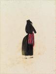 [A woman wearing black dress.]