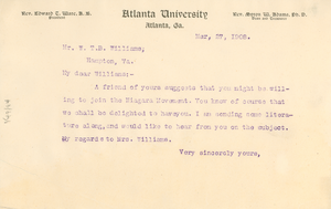 Letter from W. E. B. Du Bois to W. T. B. Williams