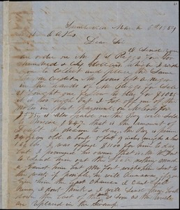 A. J. McElveen, Sumterville, S.C., autograph letter signed to Ziba B. Oakes, 6 March 1854