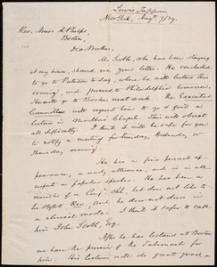 Letter from Lewis Tappan, New York, to Amos Augustus Phelps, 1839 August 9