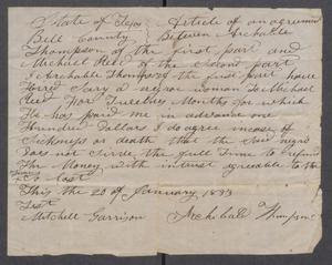 [Article of agreement between Archibald Thompson and Michael Reed for the services of a slave named Sary] Michael Reed Papers