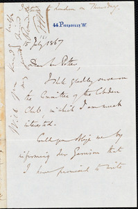Letter from Charles Savile Roundell, [London, England], to Thomas Bayley Potter, 15 July 1867