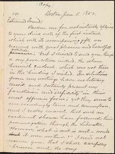Copy of letter from William Lloyd Garrison, Boston, [Mass.], to Caroline Coddington Thayer, Jan. 5, 1852