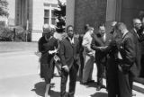 African Americans turned away from First Christian Church in downtown Birmingham, Alabama, after an attempt to integrate the congregation.