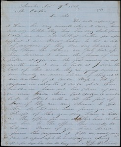 A. J. McElveen, Sumter, S.C., autograph letter signed to Ziba B. Oakes, 17 November 1856