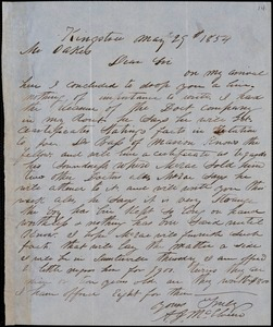A. J. McElveen, Kingstree, S.C., autograph letter signed to Ziba B. Oakes, 29 May 1854
