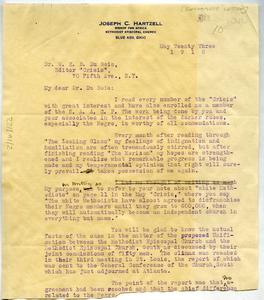 Letter from Joseph C. Hartzell to W. E. B. Du Bois