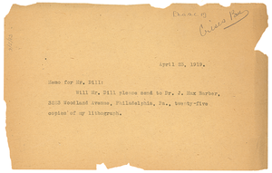 Memo from unidentified correspondent to A. G. Dill