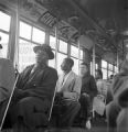 African Americans seated in the white section of a bus in Birmingham, Alabama, during an integration attempt.