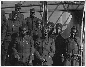 """[African American] minstrels on board the """"Saxonia"""". Lieutenant Rutherford's Ministrels who he recr..."""