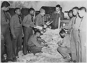 Civilian Conservation Corps, Third Corps Area: Richmond, Virginia, Co. 1372 and 1375 - brick masonry class at Armstrong Night School