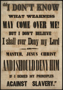 """I don't know what weakness may come over me, but I don't believe I shall ever deny my lord and master, Jesus Christ and I should deny him if I denied my principles against slavery."""