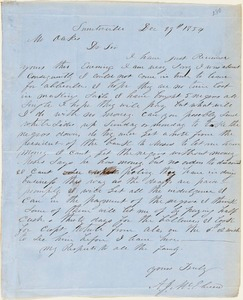 A. J. McElveen, Sumterville, S.C., autograph letter signed to Ziba B. Oakes, 29 December 1854