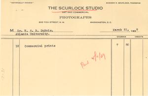 Invoice from Scurlock Studio to W. E. B. Du Bois