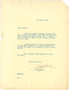 Circular letter from Augustus Granville Dill to Sigma Pi Phi Archons