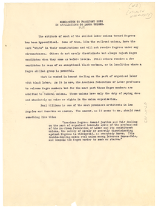 Memorandum from W. E. B. Du Bois to President Hope on affiliations with labor unions