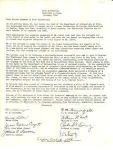 Letter from Fisk University Dept. of Mathematics to Fisk University Alumnus