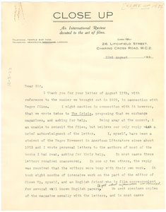 Letter from Close Up to W. E. B. Du Bois