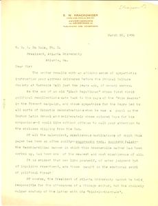 Letter from E. W. Krackowizer to W. E. B. Du Bois