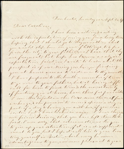 Letter from Evelina A. S. Smith, Dorchester, [Mass.], to Caroline Weston, Sunday eve[ning], Sept. 26, [18]47