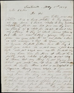 A. J. McElveen, Sumterville, S.C., autograph letter signed to Ziba B. Oakes, 1 May 1854