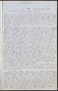 Copy of a letter from Samuel May, [Leicester, Mass], [July 8, 1851]