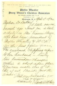 Letter from Phyllis Wheatley Y.W.C.A. to W. E. B. Du Bois