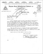 Letter from Harry Preston, Railway Audit and Inspection Company, to Oscar Elsas