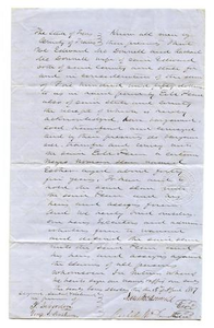 Agreement for E.M. Pease's purchase of slave named Esther
