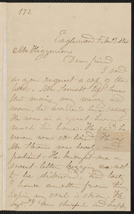 Rebecca Buffum Spring autograph letter signed to Thomas Wentworth Higginson, Eagleswood [Perth Amboy, N.J.], 13 February [1860]