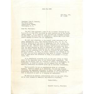 Letter, President John F. Kennedy, June 18, 1963.