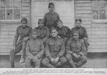 """Group of 369th Colored Infantry with their War Crosses; One hundred and sixty-nine men of this regiment (old 15th N.Y.) won valor medals. They were nicknamed """"Hell Fighters""""; Fred Rogers; George Chapman; Lawrence McVey; Isaac Freeman, Wm. Bunn; Herbert Mills; Hugh Hamilton; Clarence Johnson"""