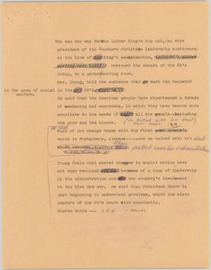 News Script: Reverend Young speech