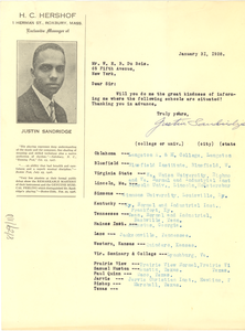 Letter from Justin Sandridge. W. E. B. Du Bois