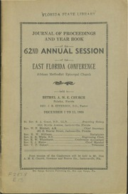 Journal of Proceedings and Year Book of the 62nd Annual Session of the East Florida Conference, African Methodist Episcopal Church