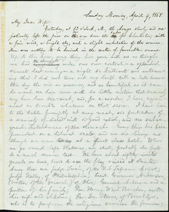 Letter from William Lloyd Garrison, to Helen Eliza Garrison, Sunday Morning, April 9, 1865