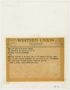 Telegram to William Alexander from James L. Brown, March 14, 1964