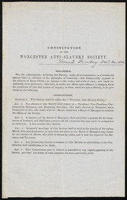 Constitution of the Worcester Anti-Slavery Society [manuscript]
