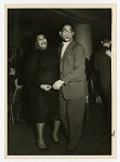 """[Ella Fitzgerald and Dizzy Gillespie at """"The Penguin Club,"""" Oslo, Norway, February 17, 1956.] [Black-and-white photoprint.]"""