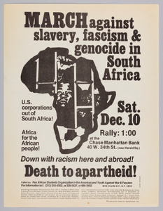 Flyer announcing a protest against apartheid in South Africa